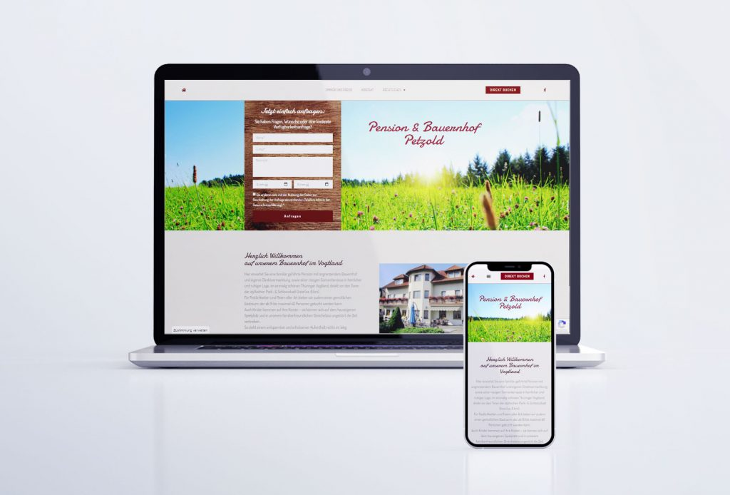 """Webseite """"Pension & Bauernhof Petzold"""" in Greiz-Sachswitz"""
