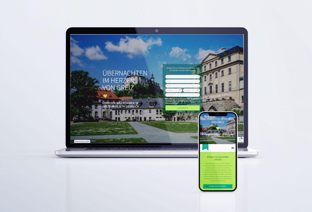 """Webseite """"Gästehaus Schlossblick"""" in Greiz"""